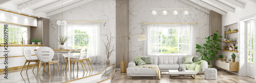 Fototapeta Interior of modern house, living room and dining room, kitchen panorama 3d rendering obraz