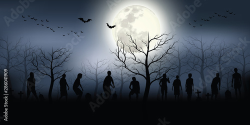 Crowd of hungry zombies in the woods Canvas Print