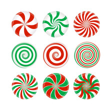 Striped Candy Without Wrapper, Red And Green Caramel, Lollipop On White Background.