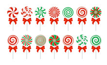 Vector Candy Canes With A Red ...