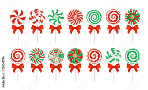Vector candy canes with a red bow Poster Mural XXL