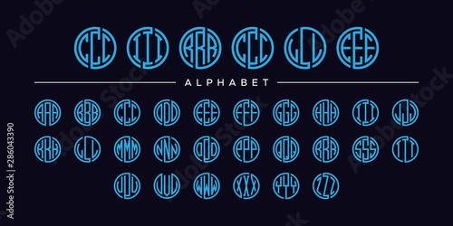 Fotografia set three letter circle blue font vector alphabet