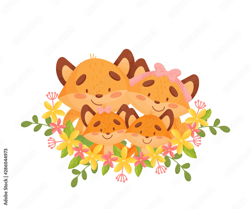 Fototapety, obrazy: Cartoon family of four foxes among the flowers. Vector illustration on a white background.