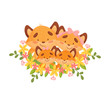 Cartoon family of four foxes among the flowers. Vector illustration on a white background.