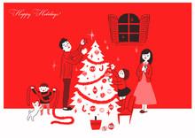 クリスマスツリーと家族4