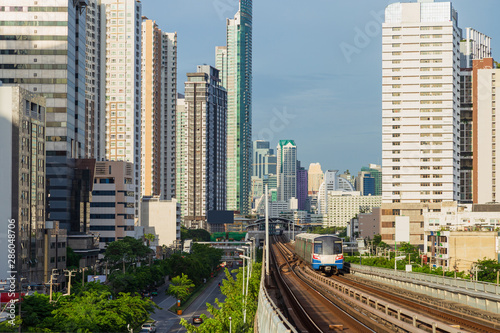 Fotografie, Obraz  BTS Sky Train is running in downtown of Bangkok