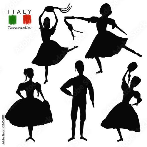 Dancers Black Silhouette In National Costume An Italian
