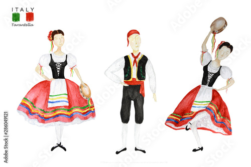 Dancers In Red National Costume An Italian Tarantella With A