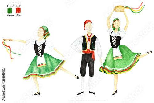 Dancers In Green National Costume An Italian Tarantella With