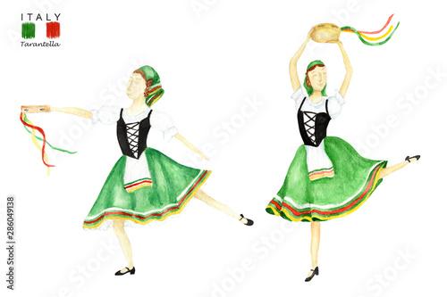 Green National Costume Dancing An Italian Tarantella With A