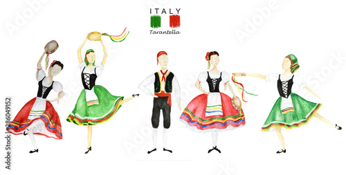 Dancers In Red And Green National Costume An Italian