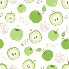 Green Apple Seamless Pattern Green Piece Of Apple Ecolagical Repeating Background Vector