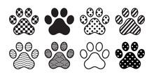 Dog Paw Vector Icon Footprint Checked Pattern Polka Dot Heart Stripes French Bulldog Cartoon Symbol Character Illustration Doodle Design
