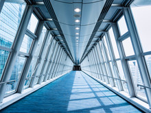 Architecture Walkway Glass Wall Modern Building Perspective