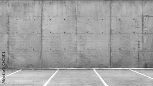Garden Poster Concrete Wallpaper Parking Lots in a an Empty Garage