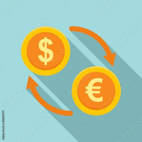 Fototapeta Money exchange icon. Flat illustration of money exchange vector icon for web design obraz