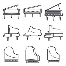 Classic Grand Piano Icons Set. Outline Set Of Classic Grand Piano Vector Icons For Web Design Isolated On White Background