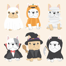 Cute French Bulldog Dog In Halloween Costume Flat Style Collection Eps10 Vectors Illustration