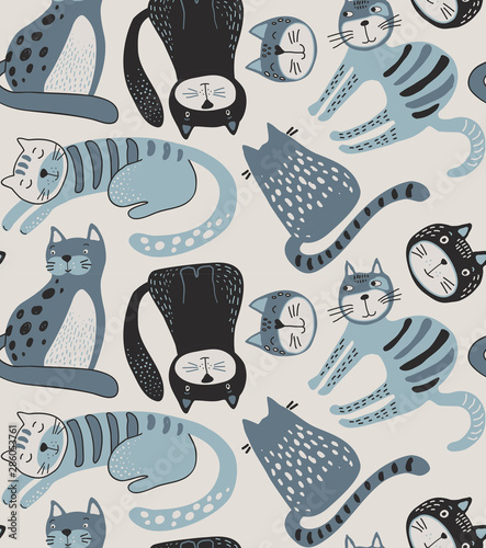 Foto-Schmutzfangmatte - Vector seamless pattern with cute cats in simple flat style. (von Andrei)