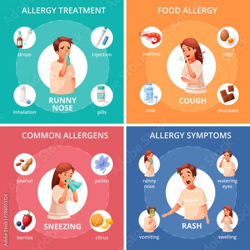 Fotografie, Tablou  Allergy Concept Icons Set