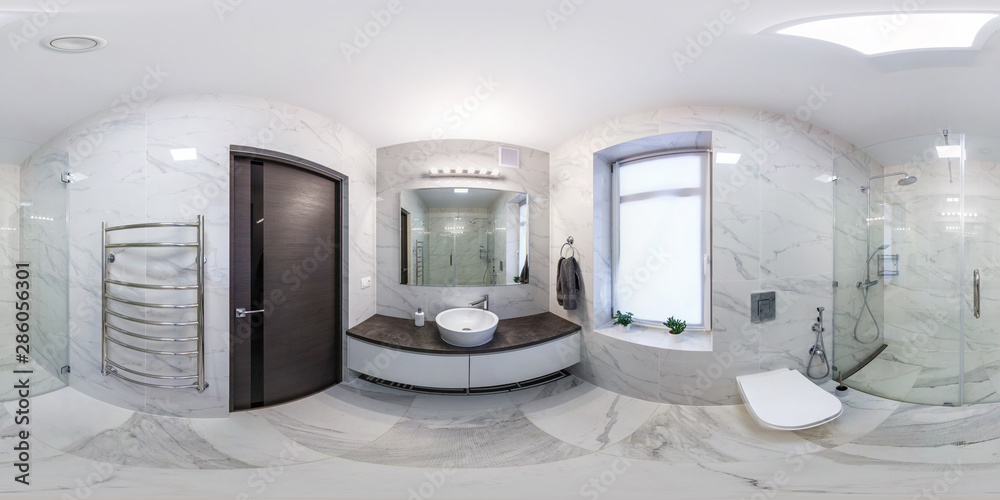 Fototapety, obrazy: full seamless hdri panorama 360 degrees angle view in interior of bathroom in modern flat loft apartments in equirectangular projection with zenith and nadir. VR AR content
