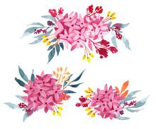 Watercolor Clip Art Set Of Bou...