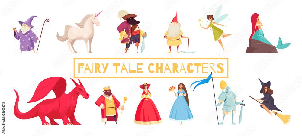 Fototapeta Fairy Tale Characters Set