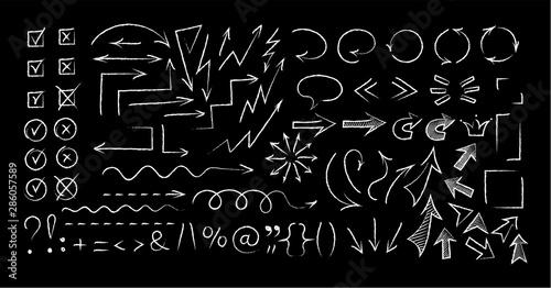 Fotografiet Sketchy arrow chalk style set vector illustration
