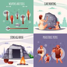 Prehistoric People Flat Concept
