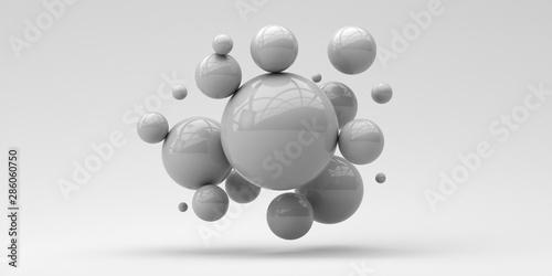 Fototapeta Flying spheres on a white background. 3d rendering. Illustration for advertising. obraz