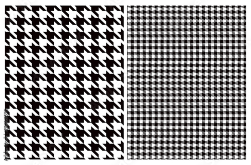 Simple Vector Pattern with Black and White Houndstooth and Grid Wallpaper Mural