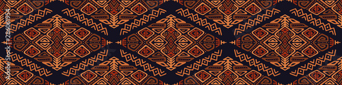 Vector Seamless Pattern in Ethnic Style. Trendy hand drawn boho tile. Creative tribal endless ornament, perfect for textile design, wrapping paper, wallpaper or site background. - fototapety na wymiar