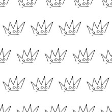 Seamless Pattern Of Doodle Queen Or King Crowns