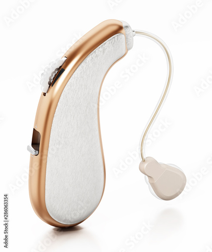 Generic hearing aid isolated on white background. 3D illustration Canvas Print