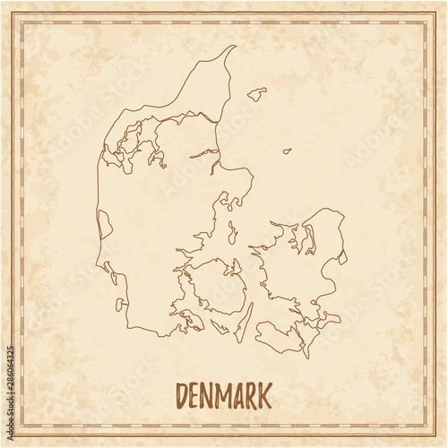 Pirate map of Denmark Tablou Canvas
