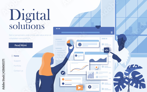 Flat Modern design Illustration of Digital Solutions