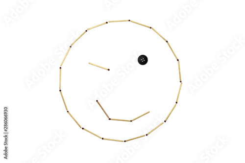Photo Smiley face amiability is made out of matches