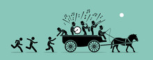 Jump On The Bandwagon. Vector Artwork Concept Depicts People And Followers Chasing, Joining, And Jumping Into A Bandwagon Because It Is Popular, Famous, And Trendy.