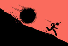 Big Rock Or Boulder Rolling Down On A Man From Steep Mountain Hill Slope. Vector Concept Artwork Of Danger, Risk, Problem, And Crisis.