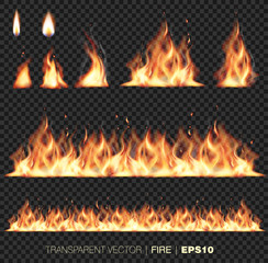 Collection of realistic transparent fire flames