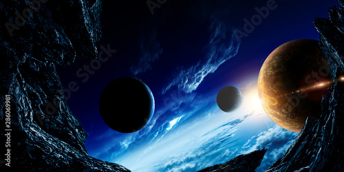 Abstract planets and space background - 286069981