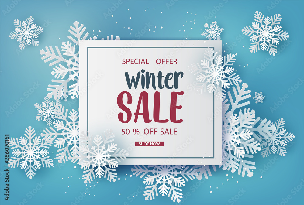 Fototapeta Winter sale  banner