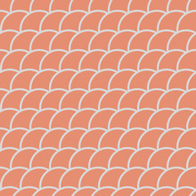 Seamless Pattern In Oriental Motifs In Shades Of Orange, Fish Scales Background, Vector Illustration
