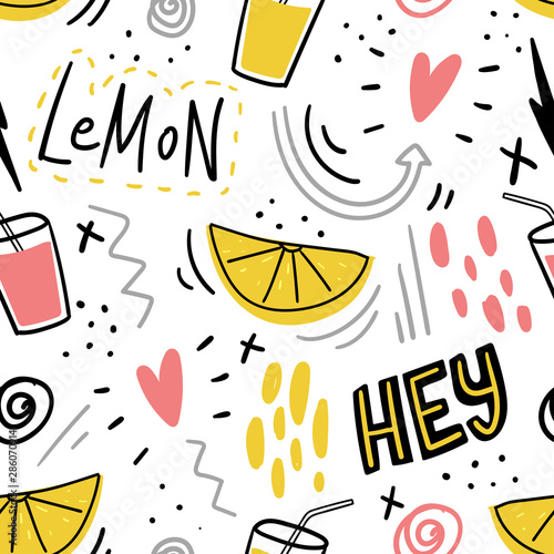 hand-drawn-kids-seamless-pattern-with-lemon-and-juice-and-hand-drawn-lettering-words-hey-for-print-textile-kids-clothes