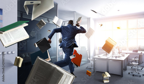 Fotografering Cheerful businessman jumping high. Mixed media