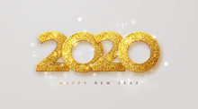 Merry Christmas And Happy New Year 2020 Banner.Golden Luxury Numbers With Glitter. Gold Festive Numbers Design. Vector Illustration