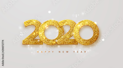 Fototapeta Merry Christmas and Happy new year 2020 banner.Golden luxury numbers with glitter. Gold Festive Numbers Design. Vector illustration obraz
