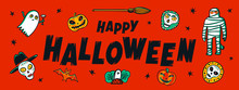 Halloween Horizontal Banner With Happy Halloween Handwritten Text And Funny Monsters. Cartoon Style Vector Illustration On Red Background.
