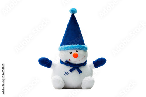 Tablou Canvas Closeup image of soft toy snowman as a symbol of new year isolated at white background