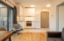 Interior Of A Modern Micro Apartment With Living Room And Kitchenette